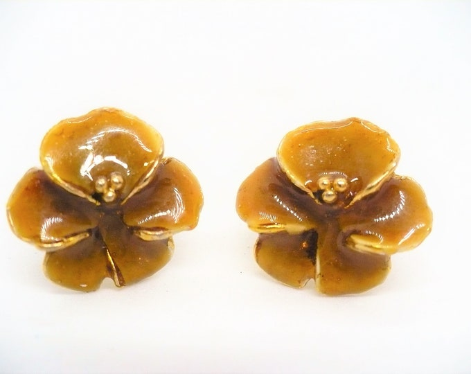 17mm Enamel Pansy Flower Pierced Post Earrings