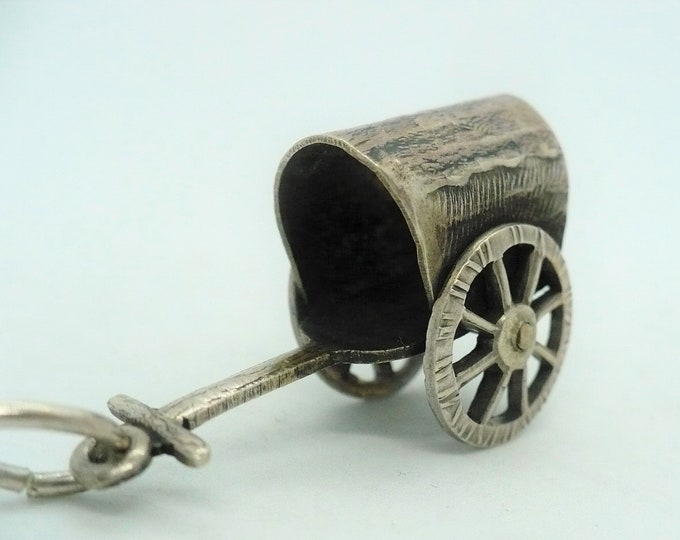 Gissha Charm Japanese Ox Drawn Cart Silver Souvenir Mechanical Charm
