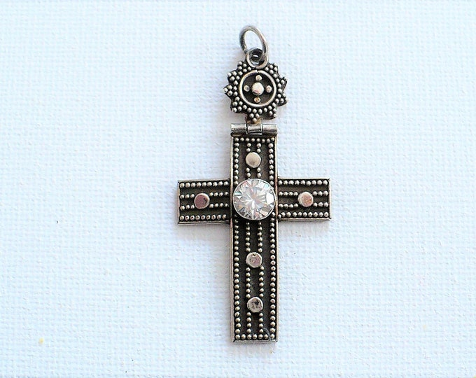Sterling Silver CZ Movable Cross Pendant