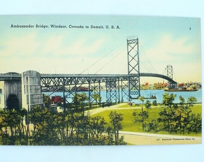 1930s Ambassador Bridge Windsor Canada Detroit Michigan Vintage Linen Postcard Unposted