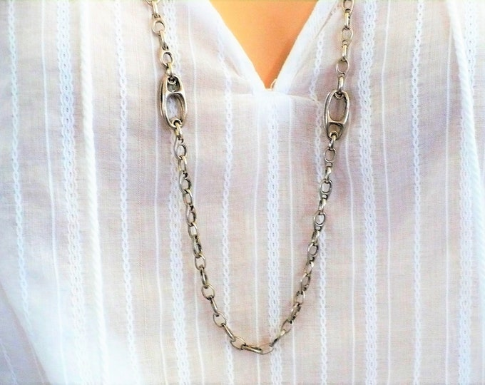 Vintage Sterling Silver Specialty Chain Necklace 33 inch