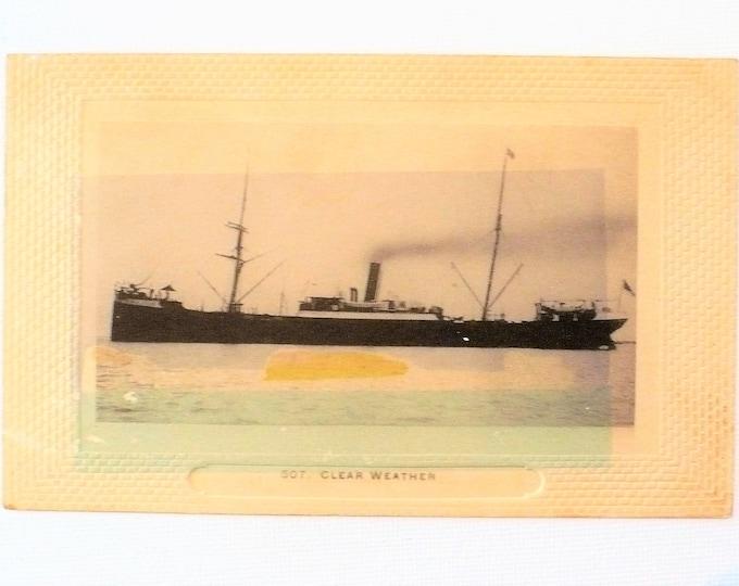 1909 Steamship 507 Clear Weather Embossed Vintage Postcard Posted