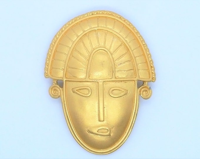 Pre Columbian Met Museum Reproduction Shaman Mask Pin Brooch MMA Vintage Jewelry