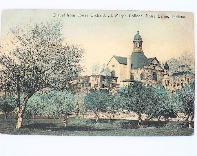 1908 Chapel Lower Orchard St Mary's College Notre Dame Indiana Church Vintage Postcard