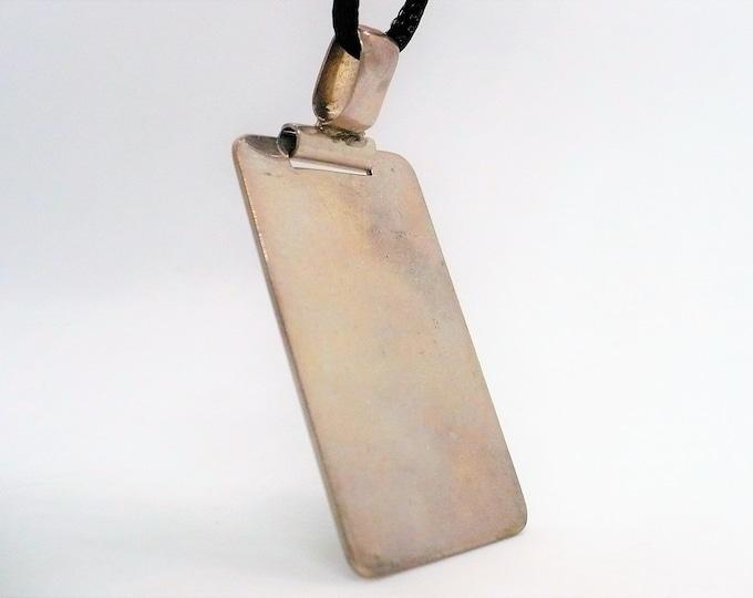 Unique Vintage Engravable Sterling Silver Tag Pendant