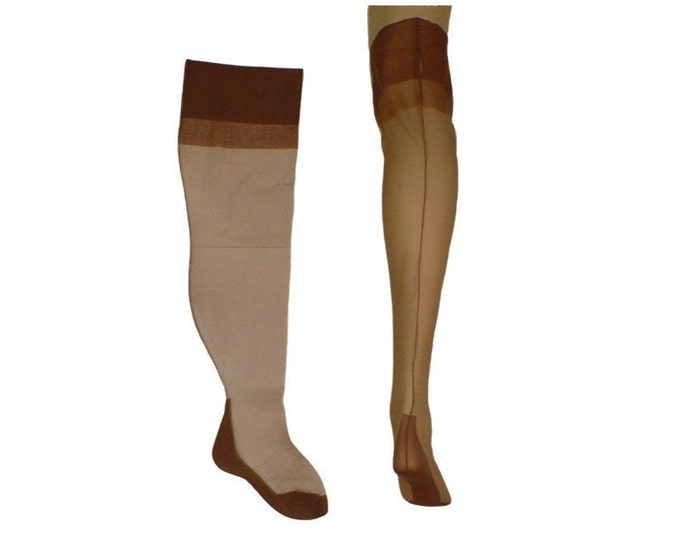 1940's Vintage Plus Size Seamed Stockings Thigh High Cuban Heel Fully Fashioned FFS 8 x 24