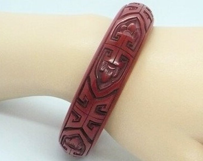 Carved Cinnabar Lacquer Bangle Bracelet