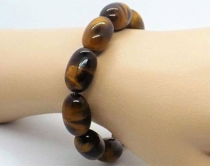 Tiger Eye Gemstone Bead Bracelet 8.5 inch