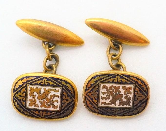 6k Gold Heraldic Dragon Enamel Antique Cufflinks Industria Argentina
