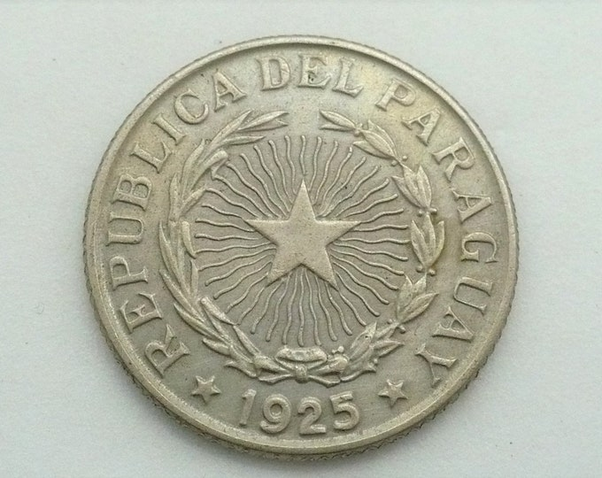 Paraguay 1925 2 Pesos Doubled Die Error Coin