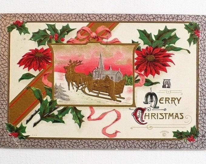 1910 Merry Christmas Reindeer Sleigh Snow Holiday Embossed Vintage Postcard Posted