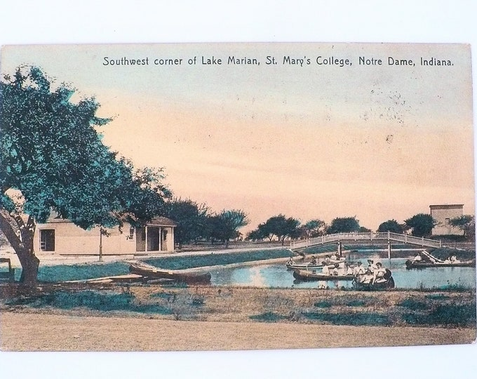 1908 Lake Marian St Mary's Women's College Notre Dame Indiana Vintage Postcard