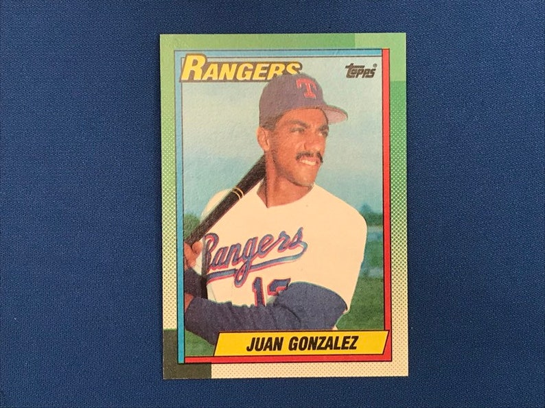 1990 Topps 331 Juan Gonzalez Rangers Baseball Rookie Card Rc Trading Card Vintage Sports Memorabilia Collectibles