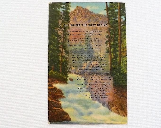 1949 Cowboy Poem of the West The Rockies Vintage Postcard Posted