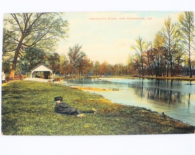1908 Two Men On Lawn Hammond's Grove Boathouse Indianapolis Indiana Vintage Postcard