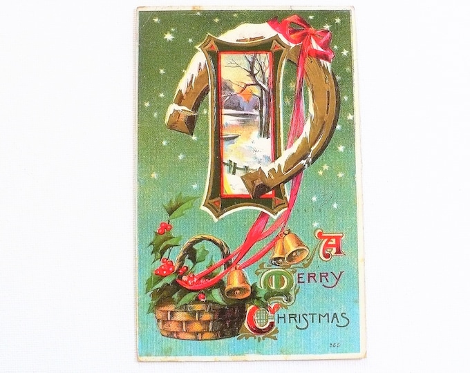 1911 Merry Christmas Holiday Gilded Embossed Vintage Postcard Posted