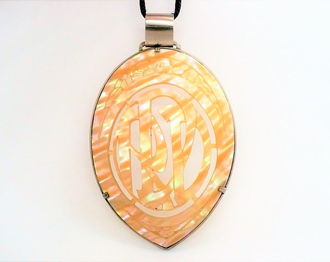 Large Hand Carved Mother of Pearl RDD Monogram Amulet Pendant