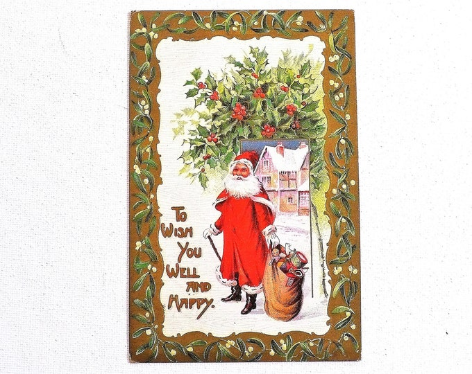 1910 To Wish You Well Happy Santa Christmas Holiday Embossed Vintage Postcard Posted