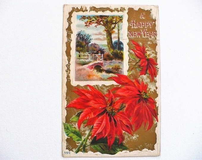 1911 Happy New Year Holiday Gilded Embossed Vintage Postcard Posted
