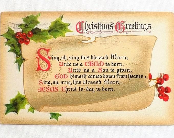 1910 Christian Christmas Greetings Holiday Embossed Vintage Postcard Posted