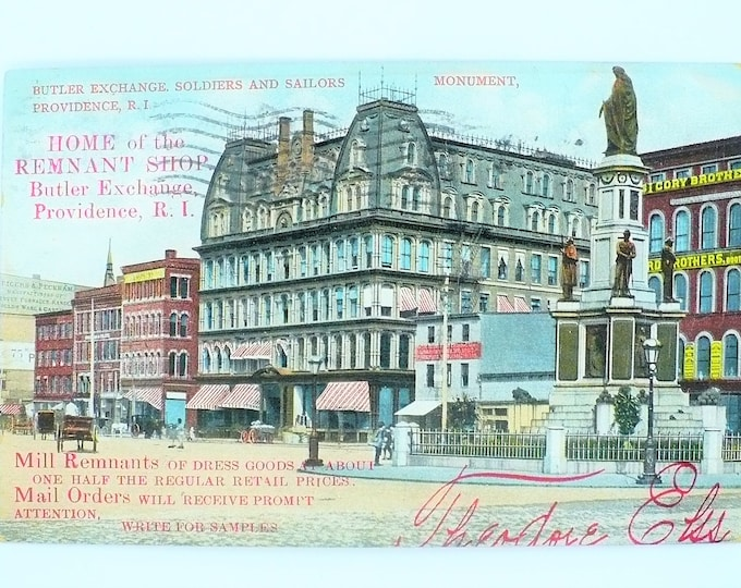 1907 Soldier Sailor Monument Mill Butler Exchange Providence RI Vintage Advertising Postcard Posted