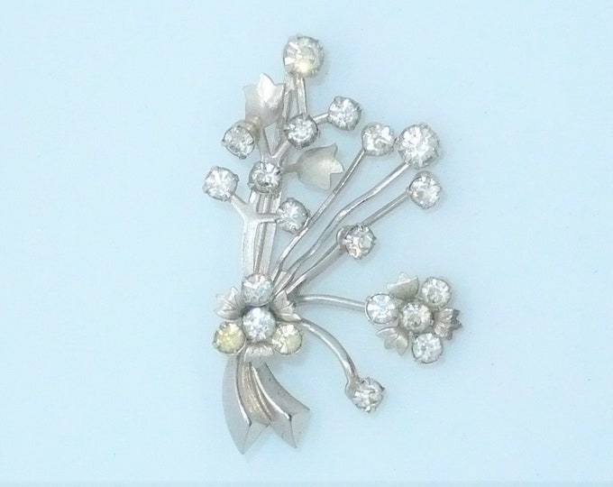 1950's Vintage Floral Rhinestone Pin