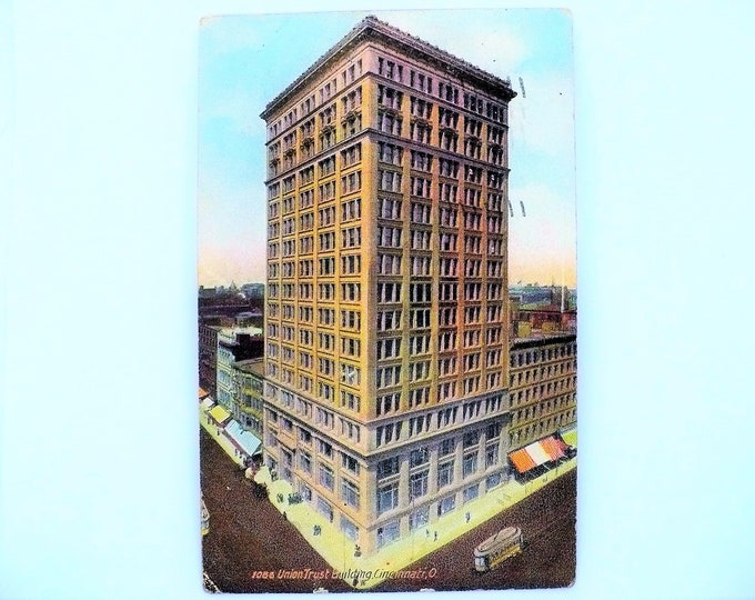 1907 Union Trust Building Cincinnati Ohio Vintage Postcard Posted