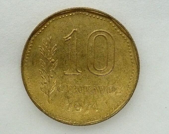 Argentina 1971 10 Centavos Doubled Die Plus Error Coin
