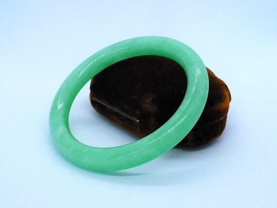 Vintage Green Jade Bangle Bracelet - image 1