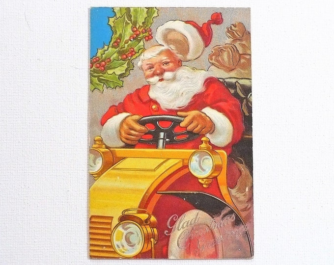 1910 Motor Car Santa Christmas Greetings Holiday Embossed Vintage Postcard Posted