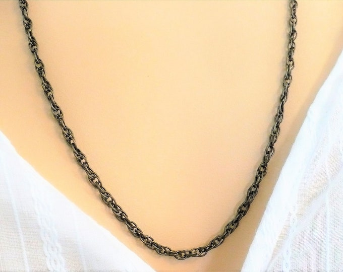"""2.5mm Antique Sterling Silver Rope Chain Necklace 25"""""""
