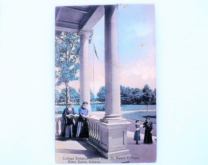 1908 St Mary's Women's College Entrance Notre Dame Indiana Vintage Postcard