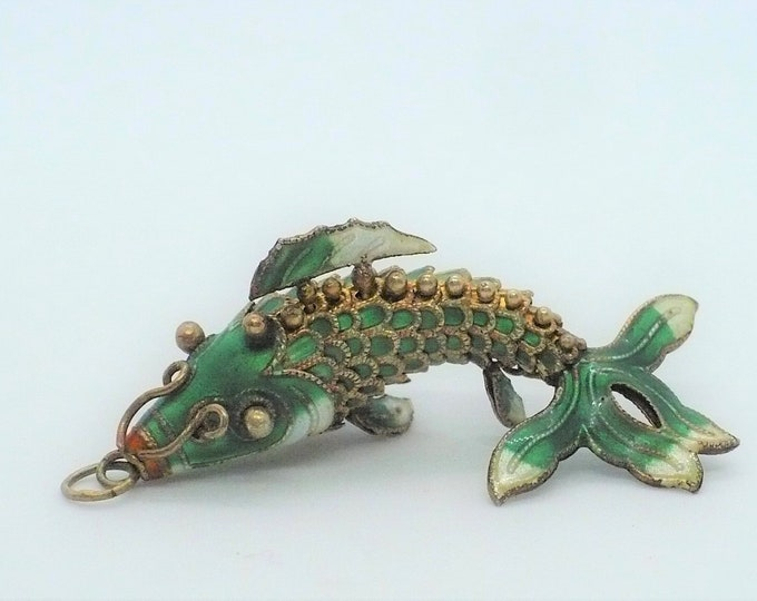 Vintage Articulated Enamel Silver Koi Fish Pendant