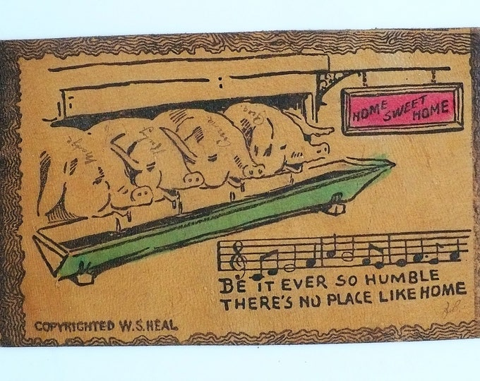 1907 Home Sweet Home Vintage Leather Comic Postcard Unposted