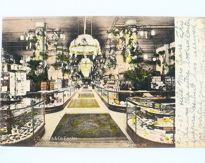 1907 LS Ayres & Co Department Store at Easter Indianapolis Indiana Vintage Postcard Posted Rev Wilfley