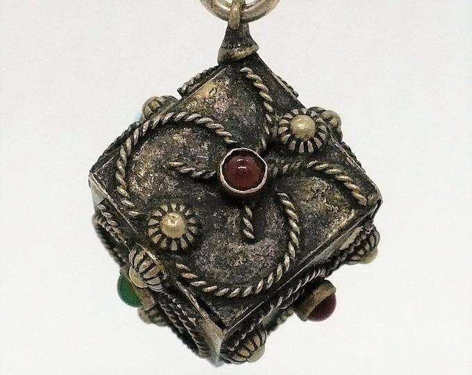Prayer Box Charm Bali Ornate Silver Indonesian Souvenir Vintage Jewelry