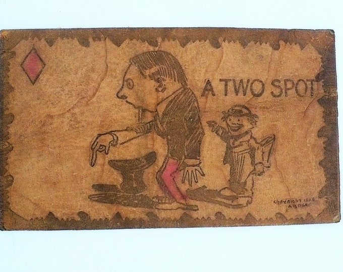1905 A Two Spot Vintage Leather Comic Postcard Unposted