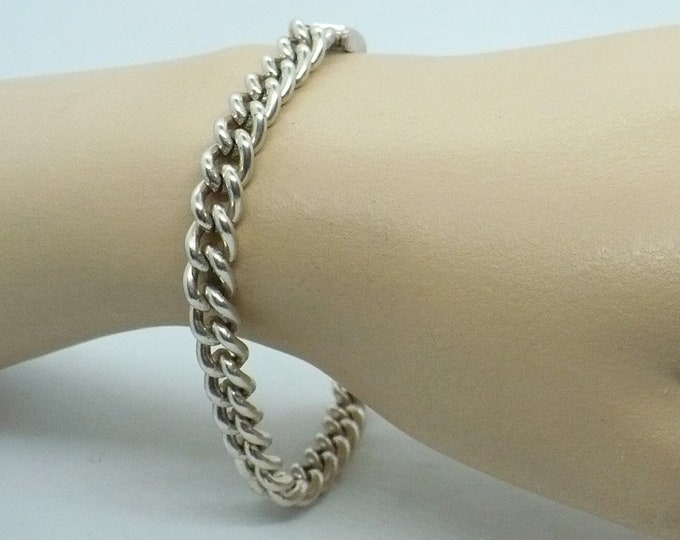 Polished Curb Link 900 Silver Bracelet For Charms Vintage Jewelry