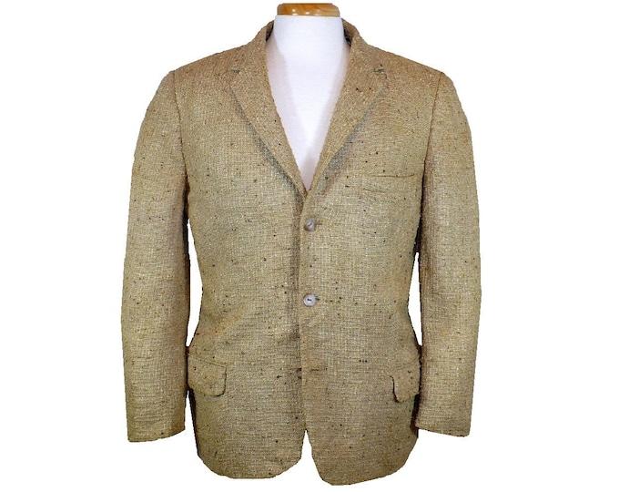 Tussah Silk Sport Coat  Single Breasted Jacket Large 40 Vintage