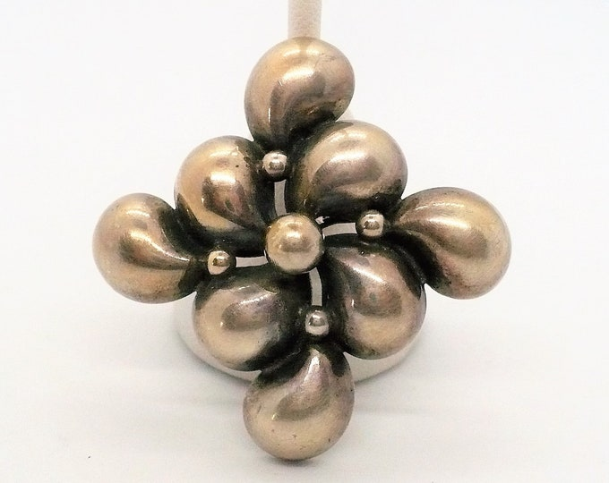 Vintage Industria Argentina Mid Century Hollow Silver Pin Brooch Pendant