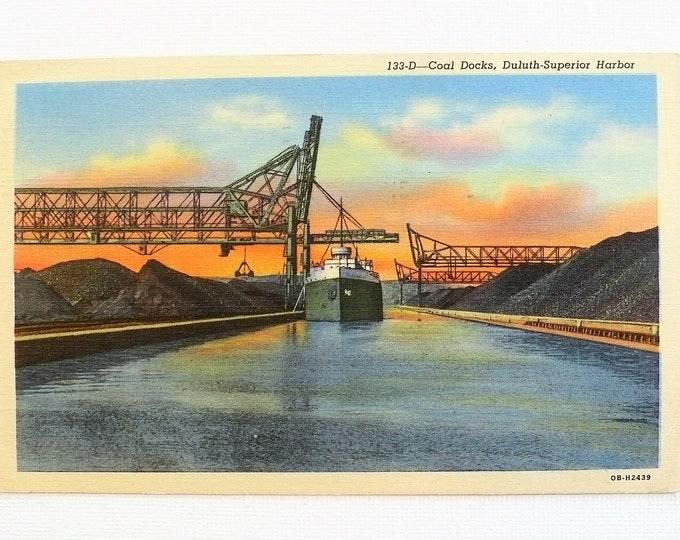 1949 Coal Docks Ship Bridge Deluth Superior Harbor Vintage Postcard Posted