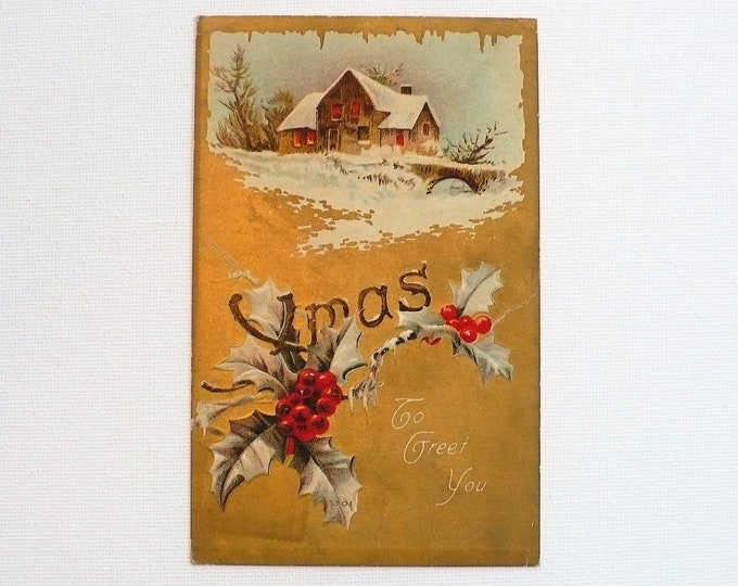 1910 Gilded Age Christmas Xmas To Greet You Embossed Vintage Postcard Posted