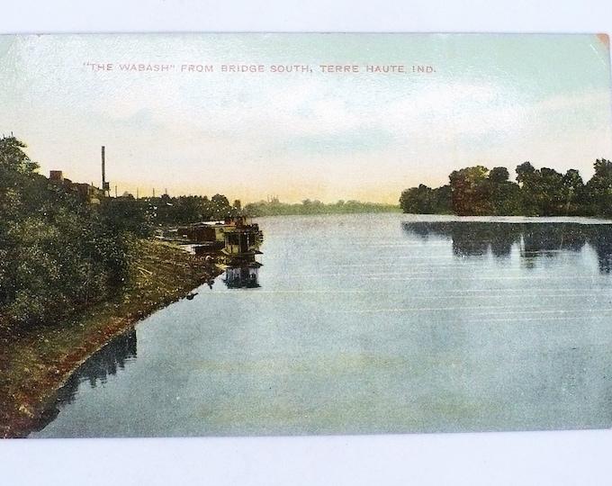 1909 Bridge South Terre Haute Wabash Indiana Vintage Postage Unposted