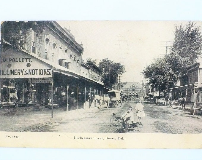 1907 Luckerman Street Millinery Notions Storefront Dover Delaware Vintage Postcard Posted