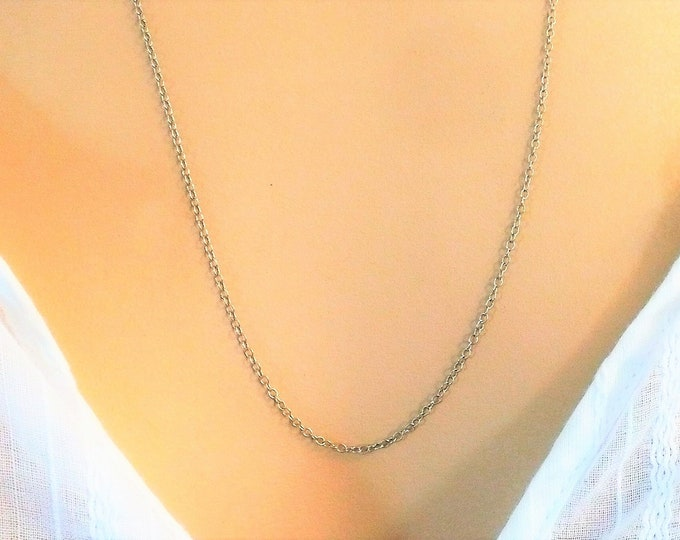 1.4mm Sterling Silver Rolo Chain Necklace 24 inch