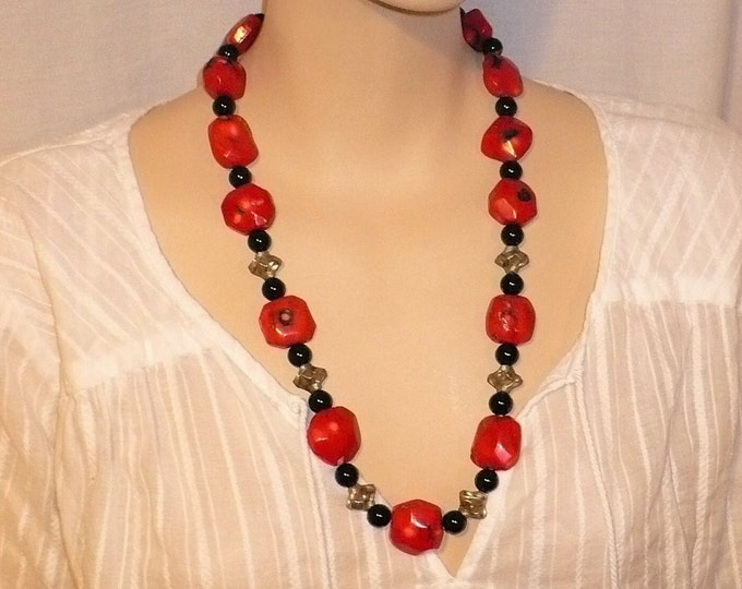 Red Mosaic Bamboo Coral Bead Necklace 24 inch