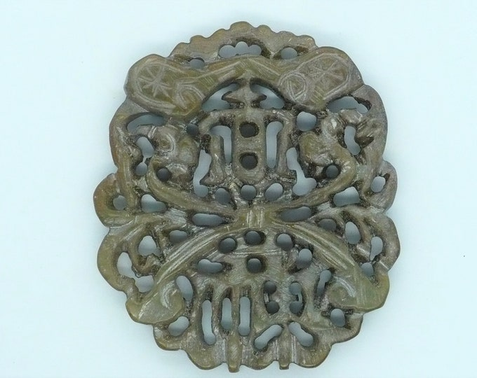 Carved Stone Chinese Amulet Vintage Chinese Import Jewelry