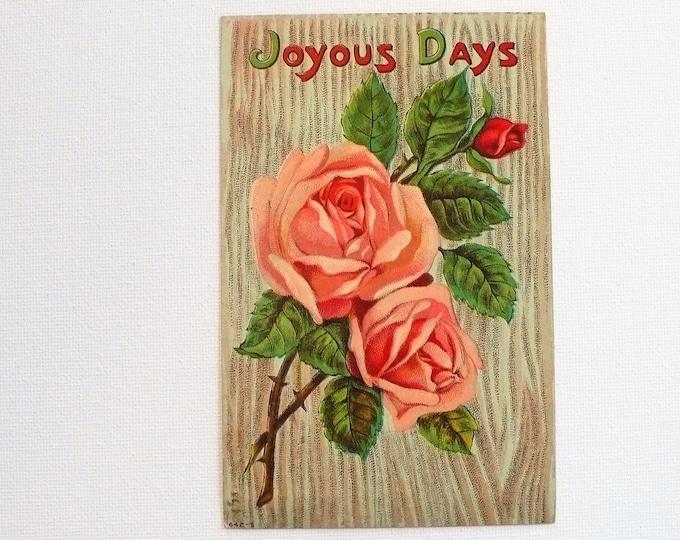 1910 Joyous Days Rose Christmas Holiday Vintage Postcard Posted