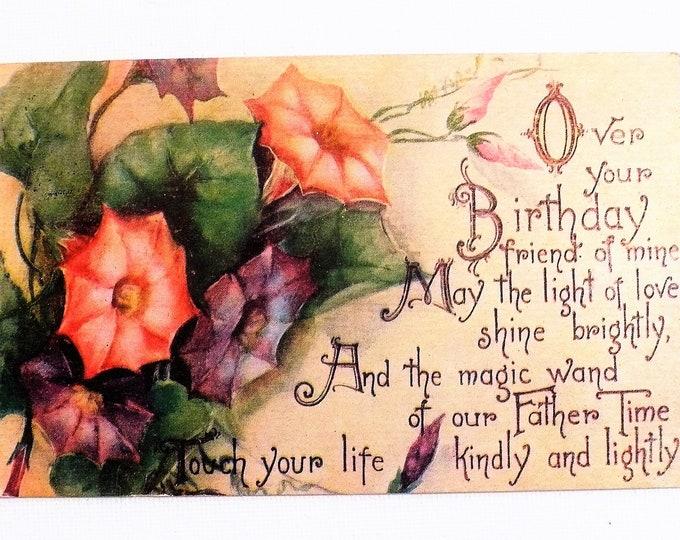 1910 Birthday Rhyme Greetings Holiday Embossed Vintage Postcard Posted