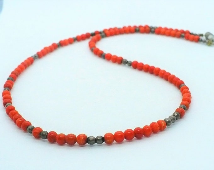Red Coral Hematite Vintage Bead Necklace 19 inch